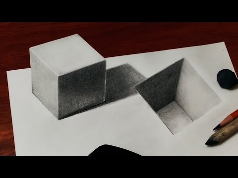 Amazing Optical Illusion - How to Draw a 3D Cube and Hole - 3D trick Art
