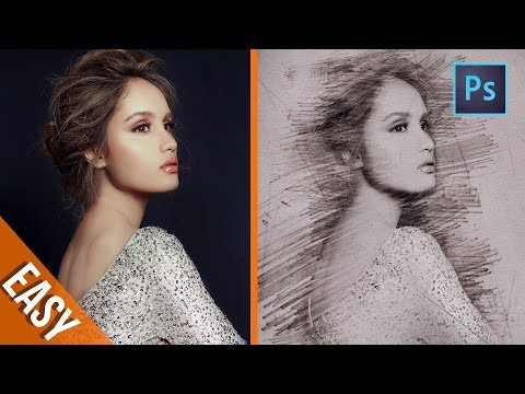 [ Photoshop Tutorials ] 4 Minute to create Pencil Sketch Effect - Photoshop trick