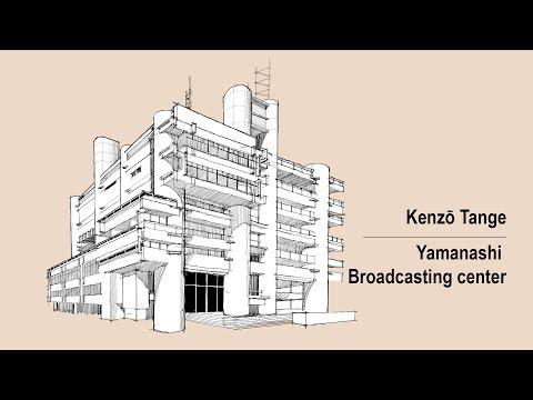Architecture Sketch #008 Yamanashi Broadcasting Center designed by Kenzō Tange