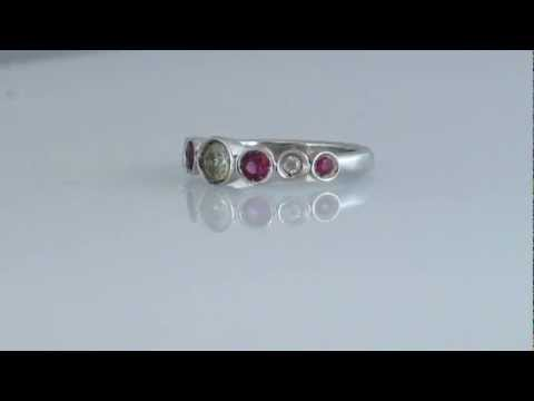 sillver ring, natural Sapphire eternity Tiffany style
