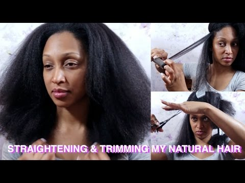 Straightening and Trimming my natural hair