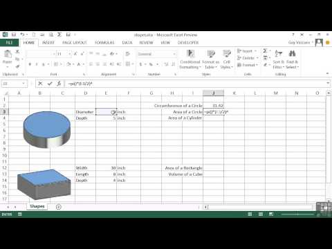 Advanced Microsoft Excel 2013 Tutorial | Area And Volume Calculations