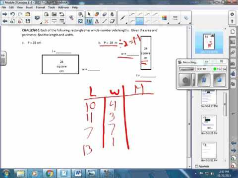 Module 3   Finding the unknown dimensions of a rectangle when the Area & Perimeter are given