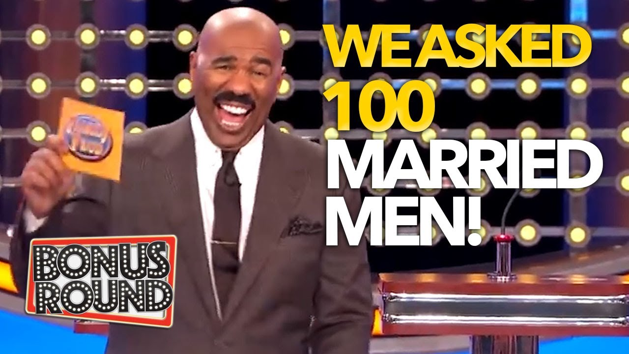 WE ASKED 100 MARRIED MEN! Best & Funniest Family Feud Questions & Answers With Steve Harvey