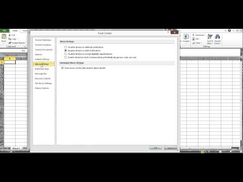 Excel security settings