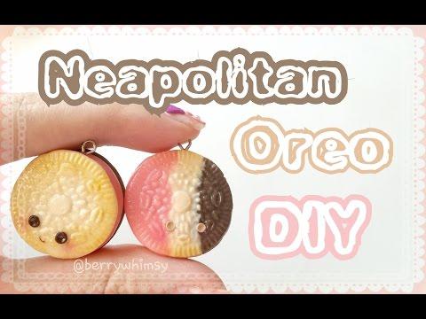 Neapolitan Mini Oreo Cookie Charm | Polymer Clay T
