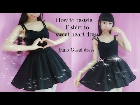 DIY-How to Transform T- shirt to sweet heart dress(easy)- Anime Yuno Gasai inspired costume