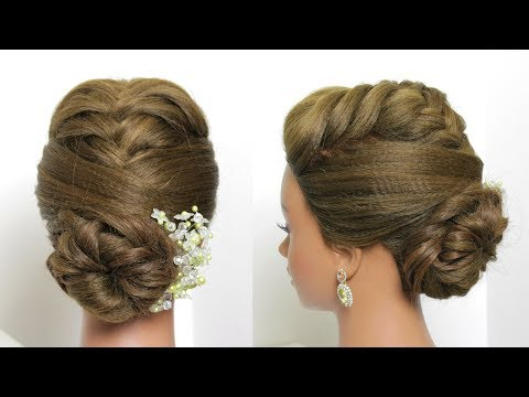 Bridal Updos For Long Hair.  Fishtail Braids Low Bun