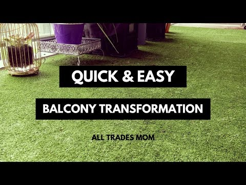 DIY BALCONY TRANSFORMATION | Laying artificial grass on balcony floor + Milk crate planter boxes