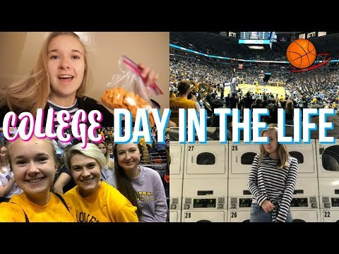 COLLEGE DAY IN THE LIFE | Basketball Game, Laundry, and the Muses App