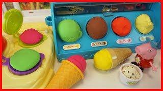 粉紅豬小妹用培樂多彩泥做冰淇淋甜點的玩具故事