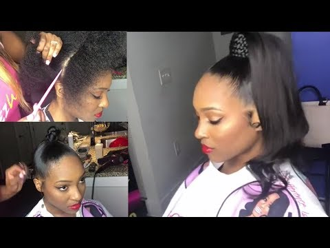 Quick Weave Invisible Sleek High Ponytail On Natural Hair ft Elemo Hair