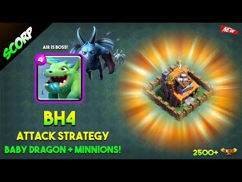 Clash Of Clans - BUILDER HALL 4 ATTACK STRATEGY/ BABYMIN/ BABY DRAGONS & MINIONS