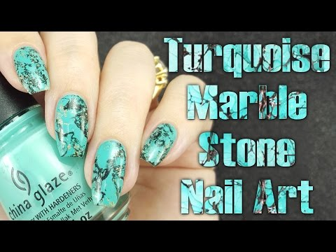 Turquoise Marble Stone Nail Tutorial
