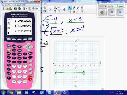 Graph a piecewise function, domain and range using square root function