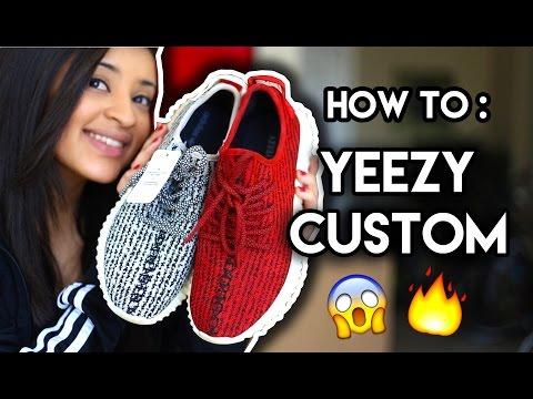 How To: Red Yeezy 350 Boost Custom + On Feet | Full Angelus Timelapse Tutorial