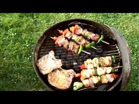 Chicken & Beef Kabobs on the Weber