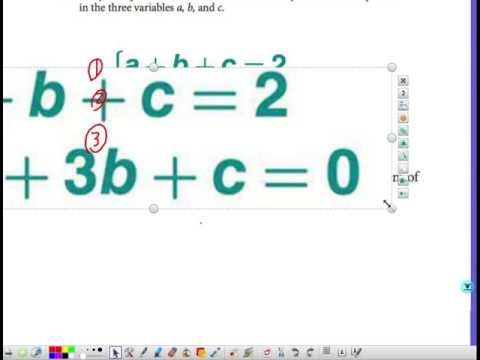 10-2 Writing a Quadratic Function Given three points