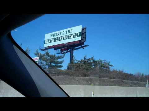 Obama Where's the Birth Certificate Billboard in Pennsylvania