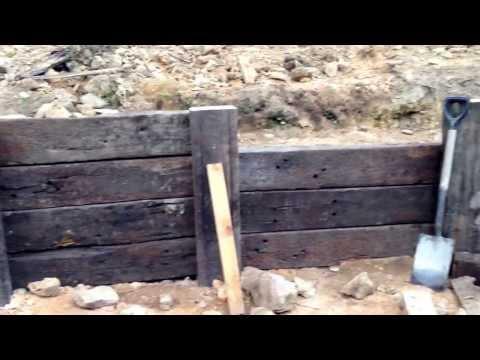Progress of the railway sleeper retaining wall