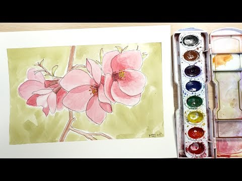 How to Draw and Paint Pink Blossoms with Watercolor