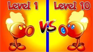 Plants Vs Zombies 2 Compare Fire Peashooter Level 10 Vs Fire Pea Level 1 - Wow It