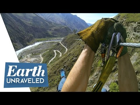 Epic Zipline Adventure through the Peruvian Andes - along the Inca Trail to Machu Picchu, Peru🇵🇪