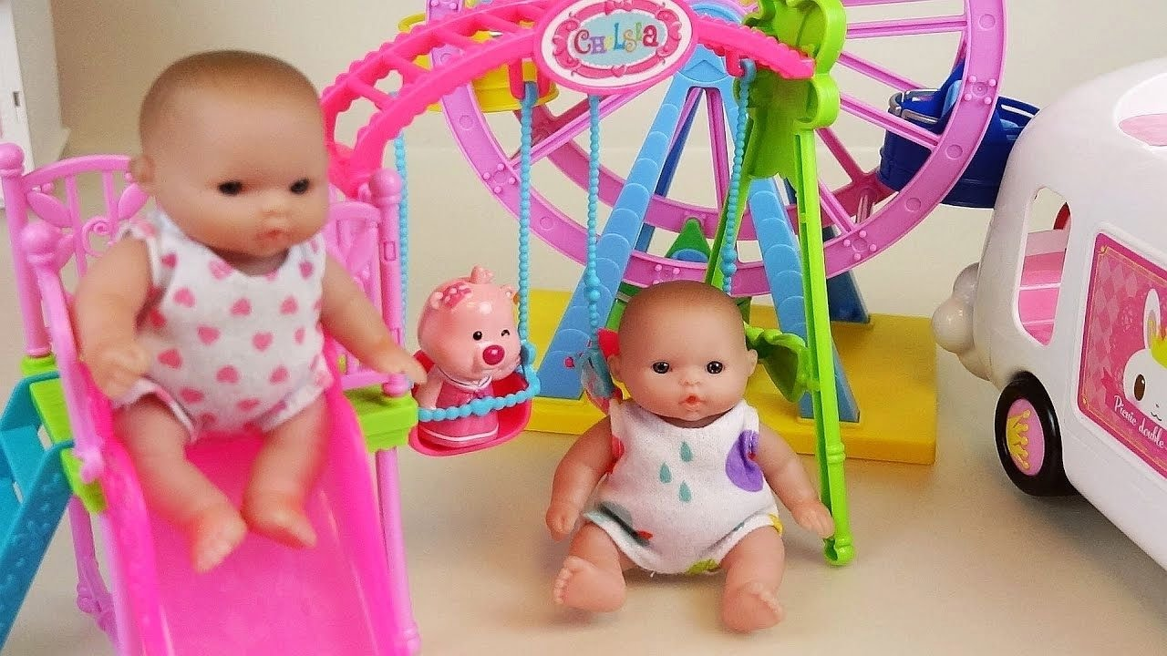 Baby doll park slide wheel and car toys play