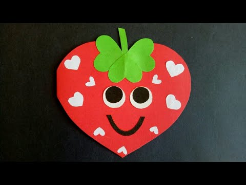 Strawberry card|Project idea for kids|how to make birthday card|Valentines crafts for kids|cute card