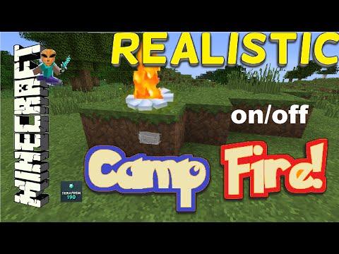 Minecraft Realistic On / Off Camp Fire! + Cow Farm!! PS4 TU39 XBOX TUTORIAL