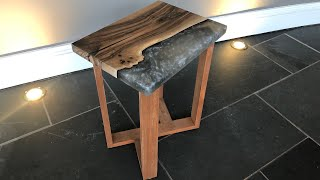 Small Grey Marble Table No.2 - Live Edge Resin