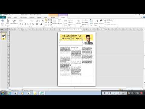 Microsoft Publisher - Working with columns of text and using layout guides.