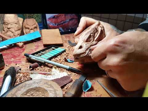 Making Smaug pipe... wood carving Demonstration ...