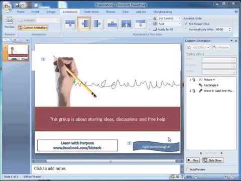 Hand writing effect animation with powerpoint
