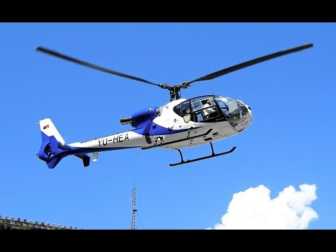 Serbian Police Aérospatiale Gazelle Close-up Takeoff From The Belgrade City Center