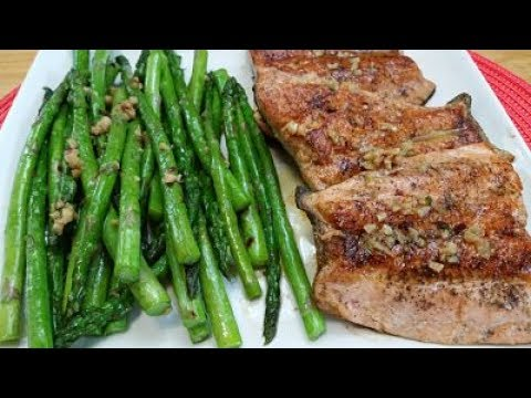 Pan Seared Atlantic Salmon With Asparagus In A Garlic Butter Sauce  |  Episode 179