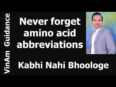 Amino Acid Abbreviations, EASY WAY TO REMEMBER (Hindi)