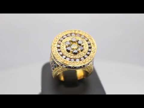 Men's 14K Solid Yellow Gold Diamond Pinky Ring 15.90 Ctw