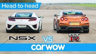Honda (Acura) NSX vs Nissan GT-R DRAG & ROLLING RACE + BRAKE TEST | Head-to-Head