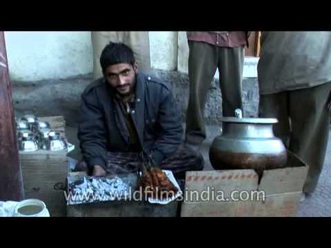 Vendor selling famous street food Rista-gushtaba of Kashmir