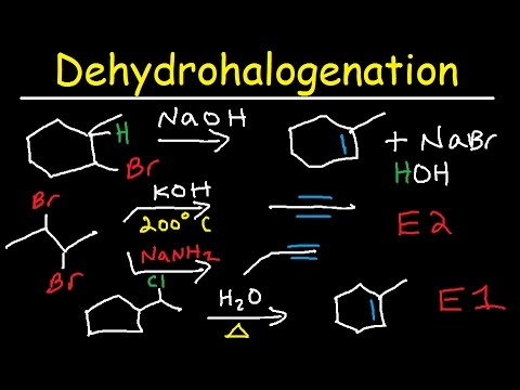 Dehydrohalogenation of Alkyl Halides Reaction Mechanism, KOH, E2 & E1, Dihalides, Alkenes & Alkynes