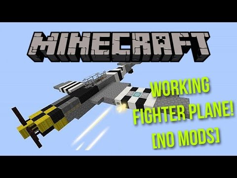 A WORKING FIGHTER PLANE IN MINCRAFT!? - No Mods - Minecraft Working Fighter Plane Tutorial