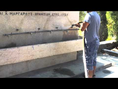 dustless blasting Cleaning marble sink from rust and years of dirt by advanced blast tech cyprus