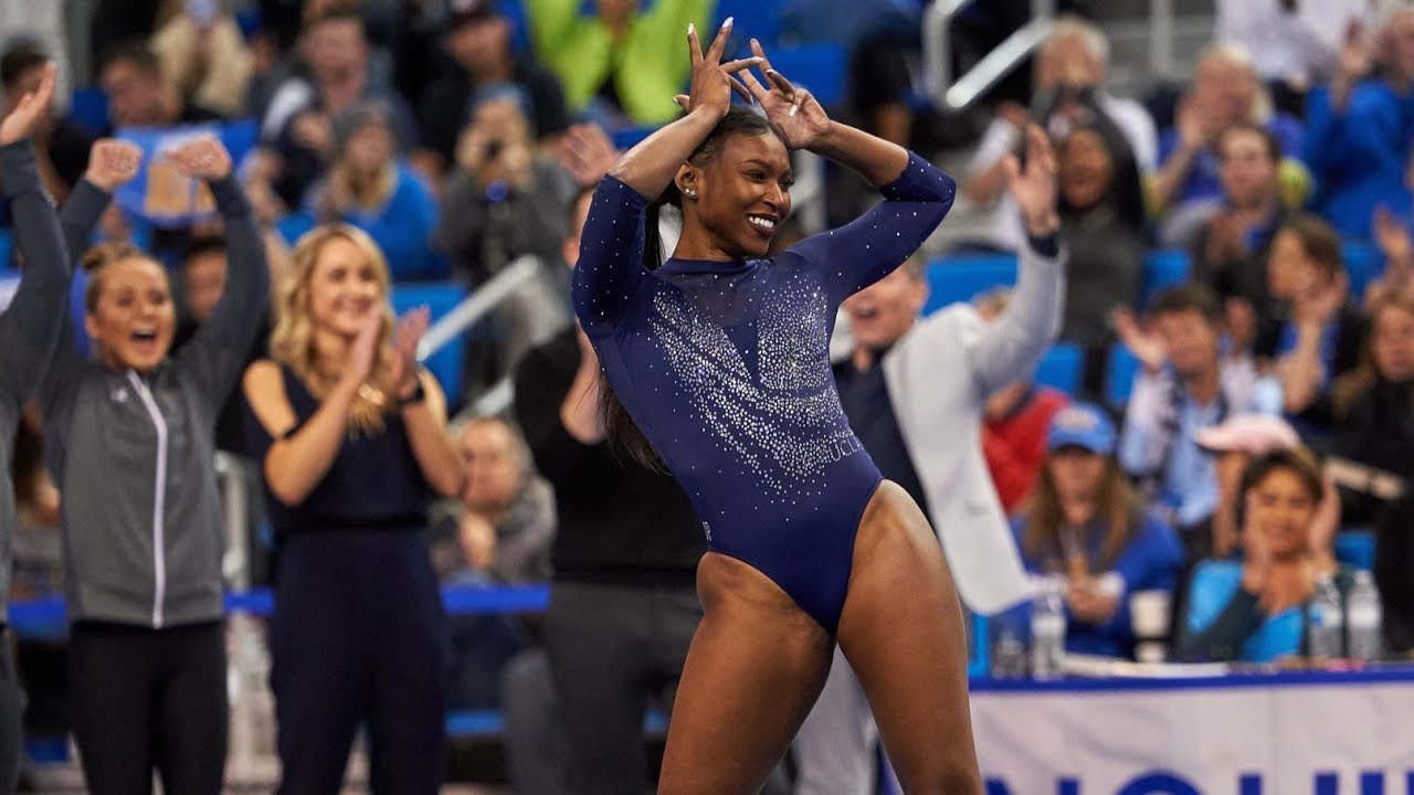 UCLA gymnast Nia Dennis' incredible floor exercise shows off her power and energy