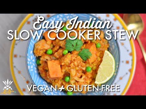 Indian Red Lentil & Veggie Slow Cooker Stew | Vegan + Gluten-free