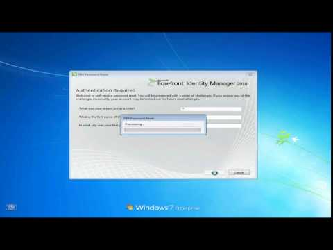 Self-service password Reset with Forefront Identity Manager demo