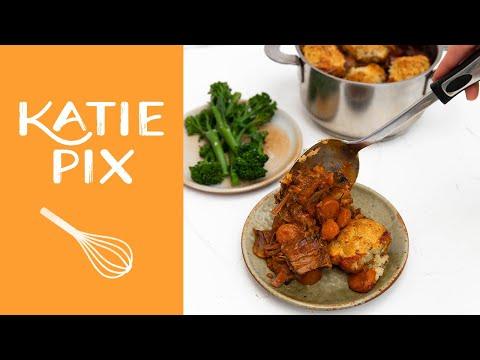 One Pot Beef Stew & Rosemary Dumplings Recipe | Katie Pix