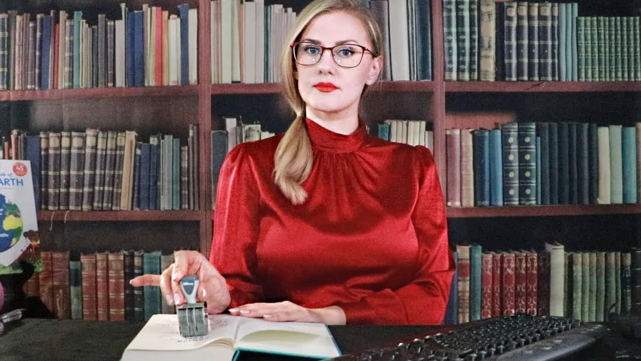 Library ASMR / Typing / Page Flipping / Stamping / Plastic Crinkles / Hand Movements