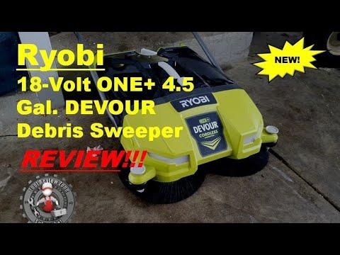 Ryobi 4.5 Gallon DEVOUR Debris Sweeper Review and instructional (P3260)