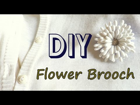 How to Make a Flower Brooch using Cotton Buds | DIY Q tip Flower Brooch| by Fluffy Hedgehog